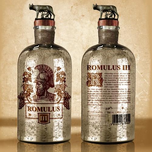 Design the bottle package for the next dark spirit brand