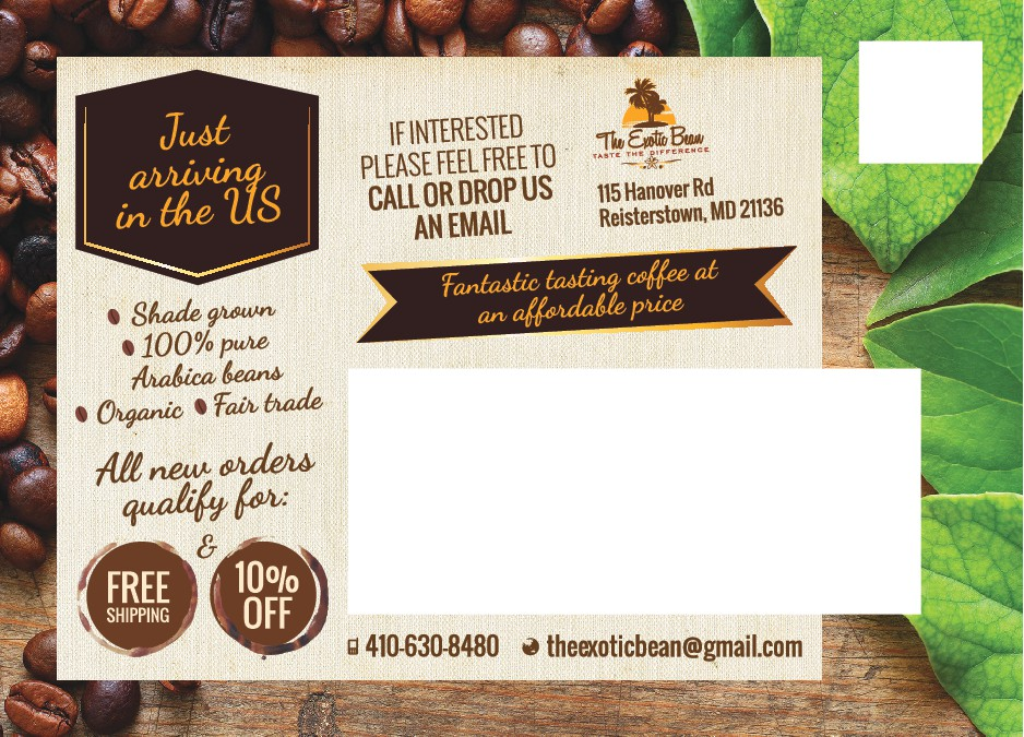 need attention grabbing post card for wholesale coffee beans
