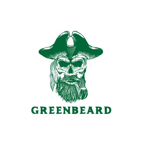 Green Beard pirates logo design