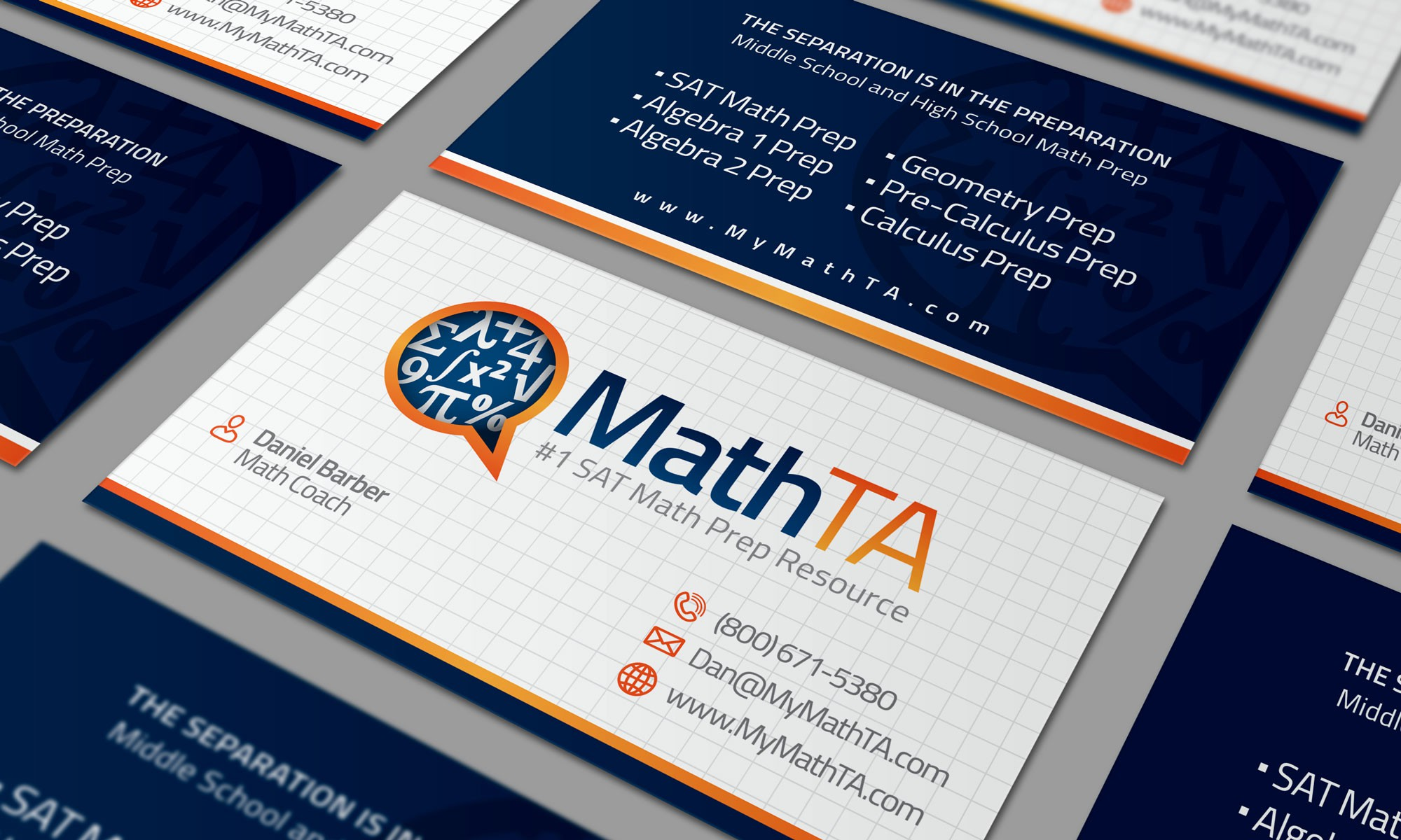 Create captivating logo & business card for MathTA, an innovative online Math Test Prep company