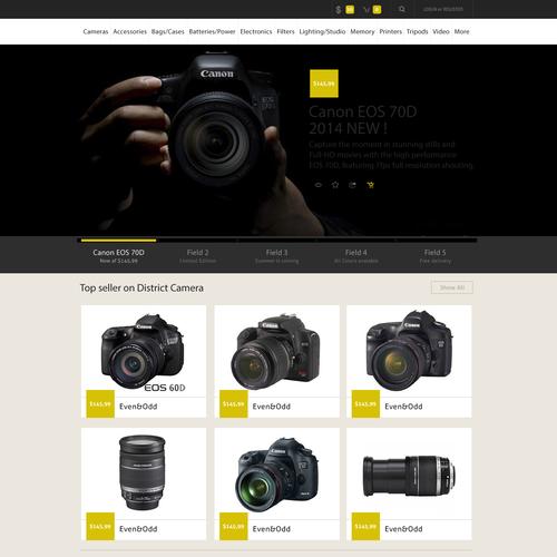 Design/Ideas for eCommerce Camera Website