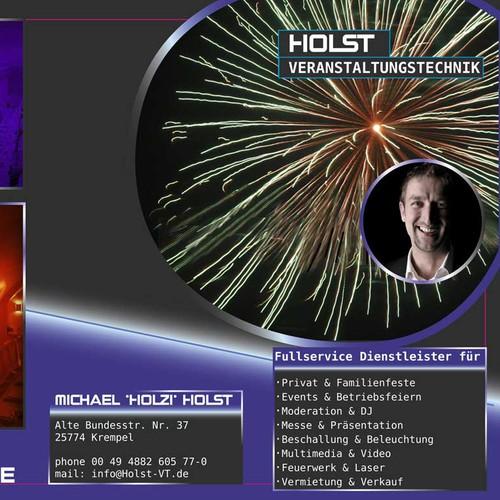 Holst Veranstaltungstechnik benötigt postcard, flyer or print