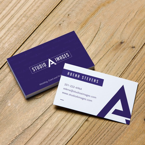 Business Card for Photographer dominated with dark purple color