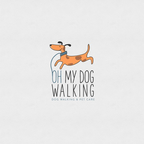 Create a fun irresistible dog & great font for oh my dog walking!