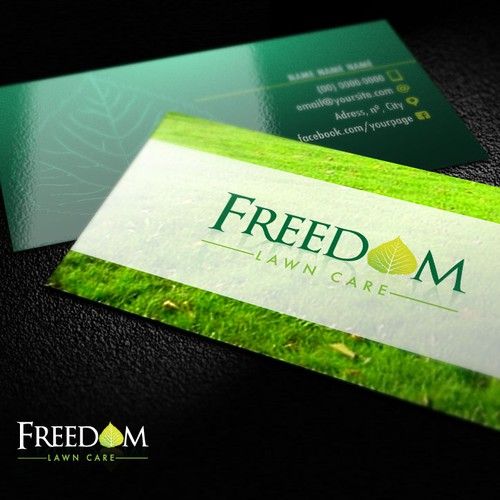 create a patriotic and unique logo for Freedom Lawn Care