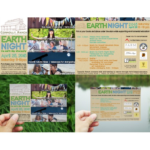 Earth Night Farm Festival Promo Postcard