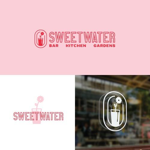 Minimalist logo for bar/restaurant with gardens
