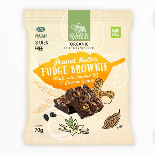 Orgaic vegan fudge brownie