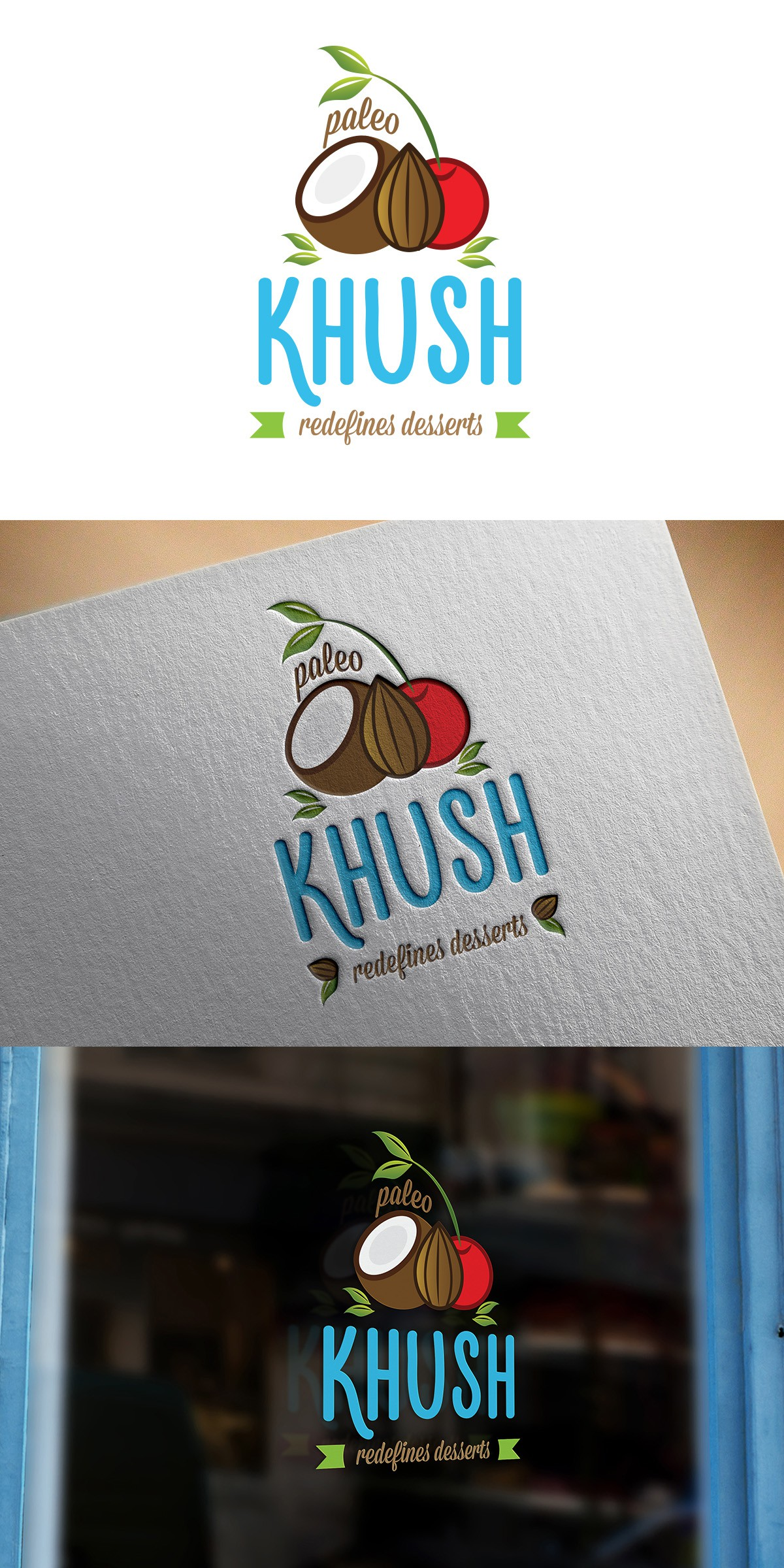 Create a eye catching logo for a brand of paleo desserts that is up and coming in Asia