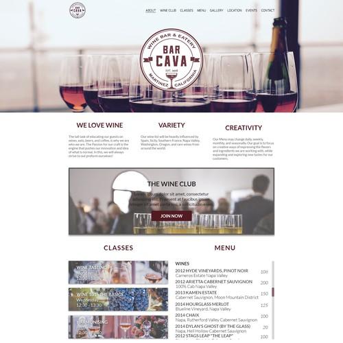 Web Design concept for a wine bar