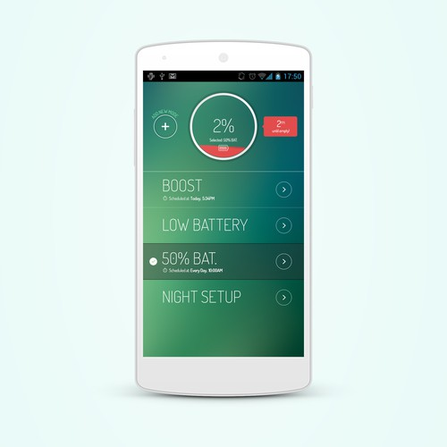 Create a beautiful design for an android battery saving app