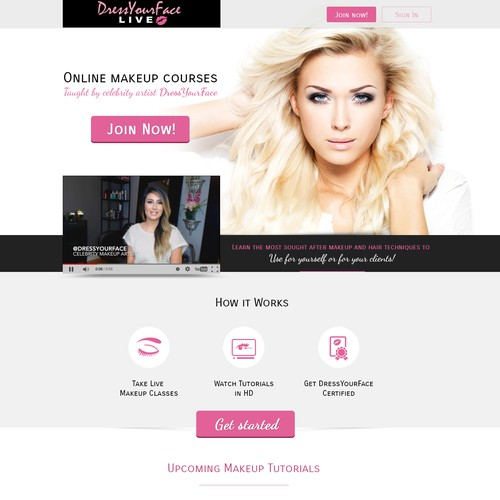 New Landing Page for Online Makeup Tutorial Company