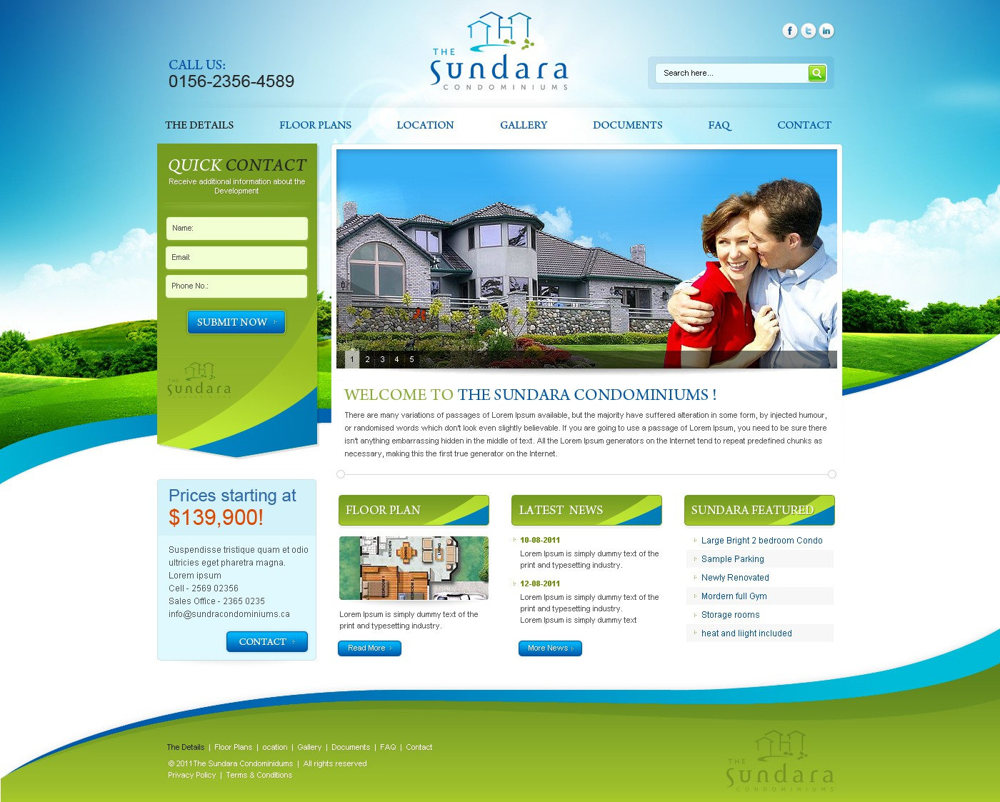 The Sundara Condominiums needs a new website design