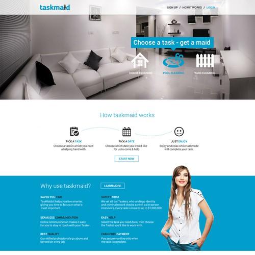 Design a fun & hip landing page for taskmaids (Guarantee contest!!! & long-term work!!!)