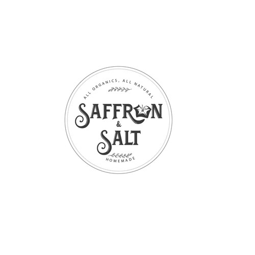 Design a unique company product labeling for Saffron & Salt