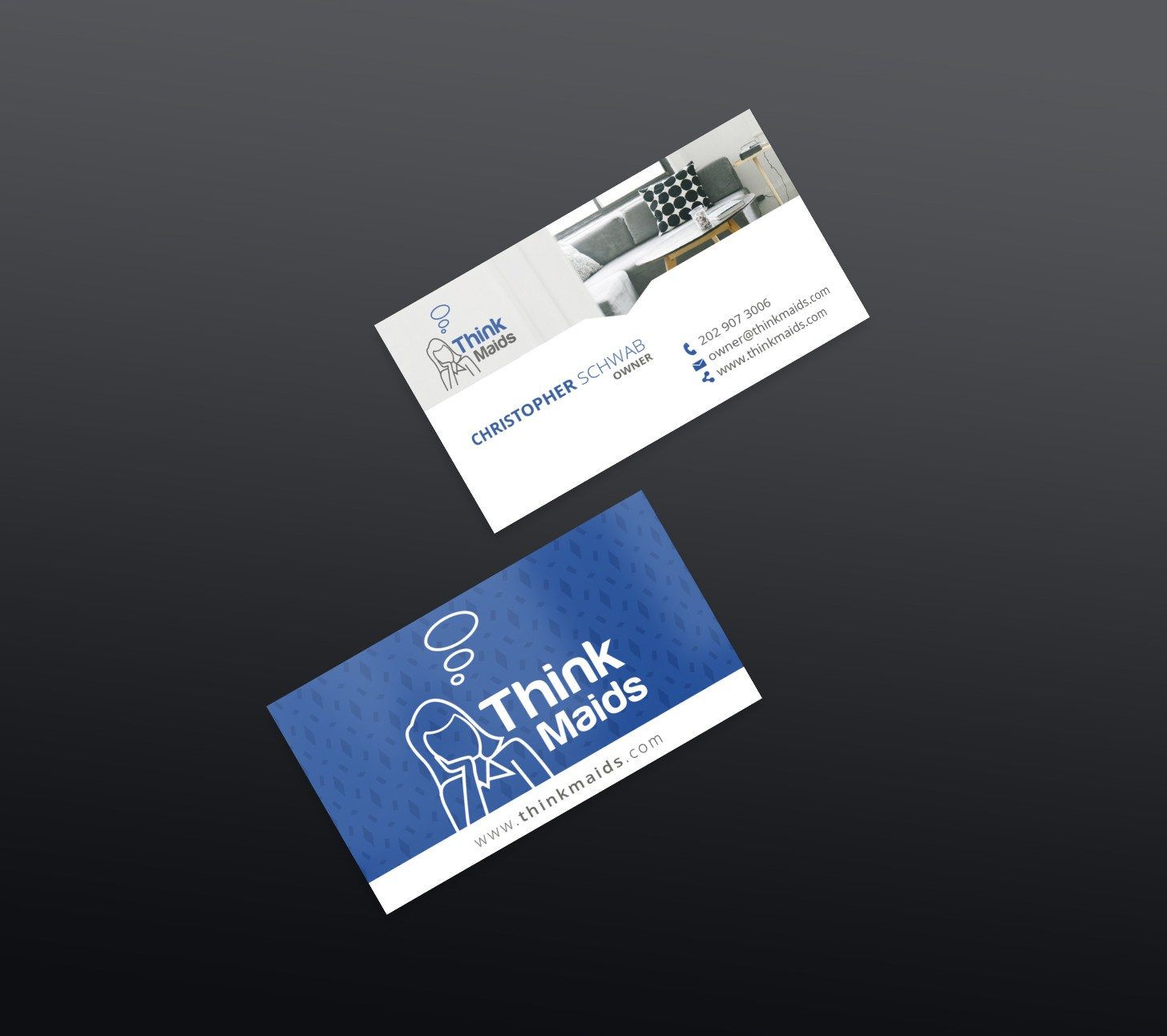 Create a beautiful, simple and clean business card for Think Maids cleaning service