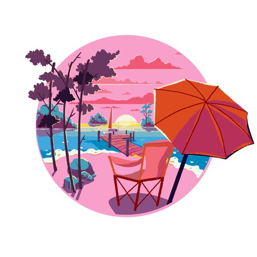 Funky Beach Illustration