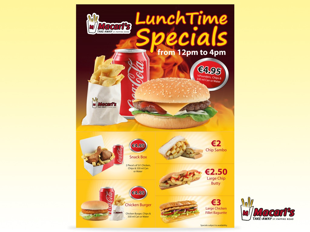 Ma caris needs a new Wall Poster for Lunch Time Specials