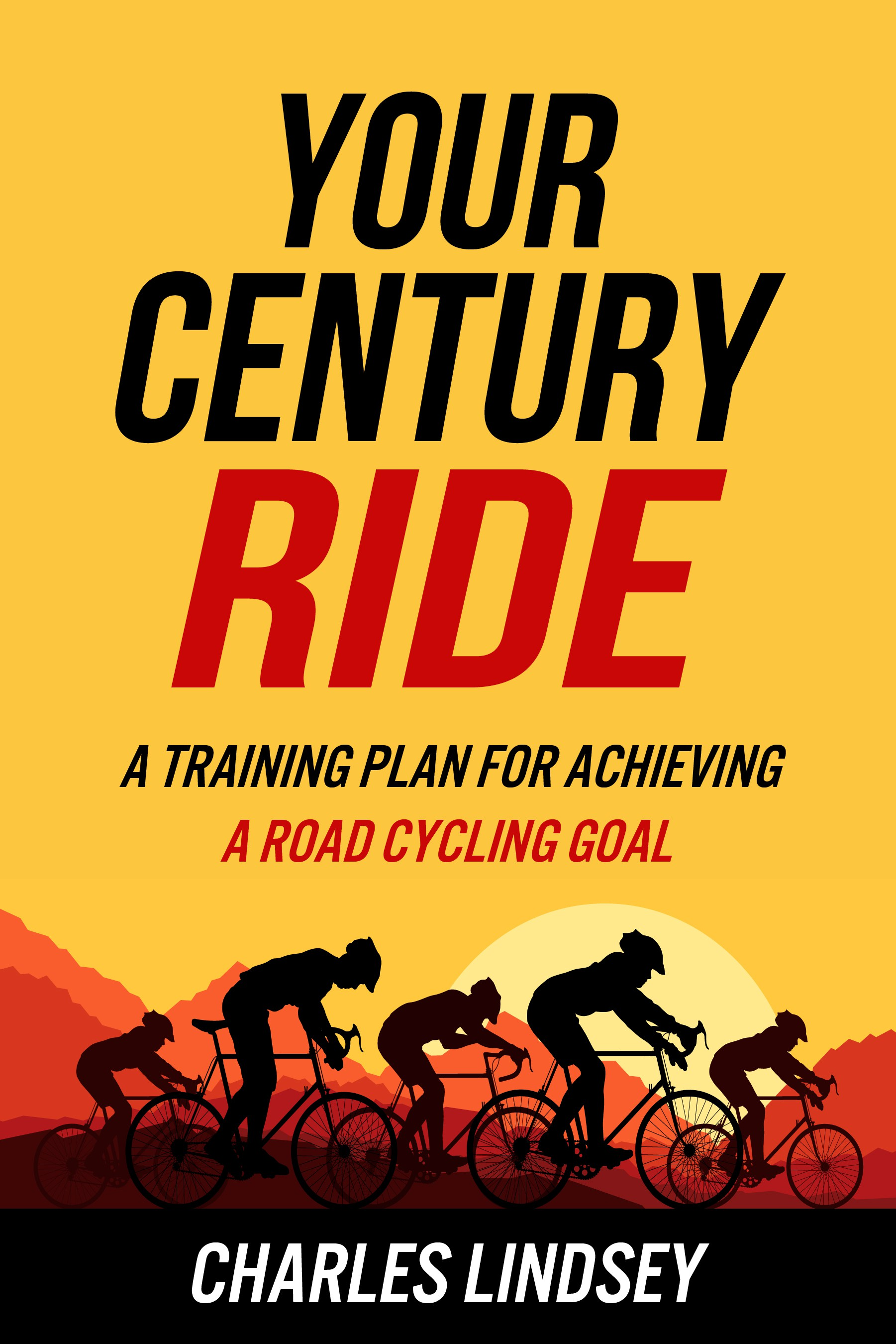 Fun, creative book cover about century ride training for road cyclists.
