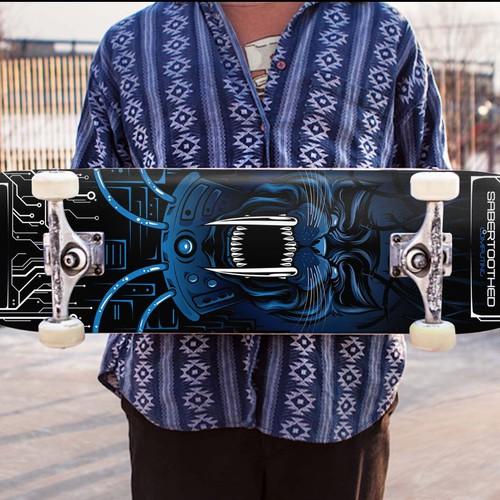 skateboard deck design for Saber Tooth