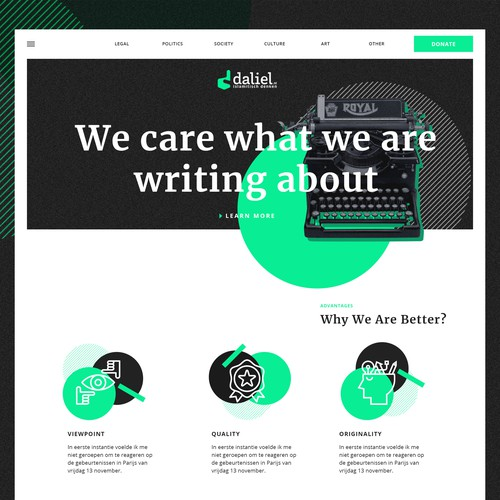 Bold and bright concept for new blog