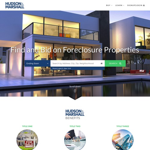 Real estate marketplace home page re-design