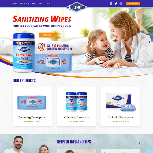 Wet wipe, cleaning, hygiene products company needs a website