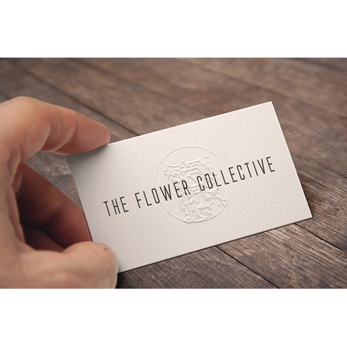 Embossed logo for The Flower Collective