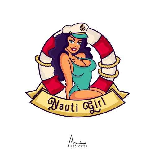 Nautical Pin Up Logo for a Yacht