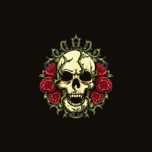 Skull and Rose logo design
