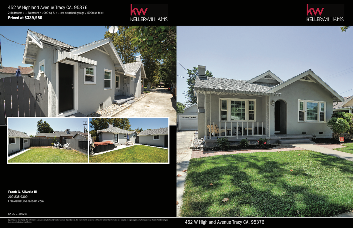 4 page Brochure 452 W Highland Avenue Tracy CA. 95376