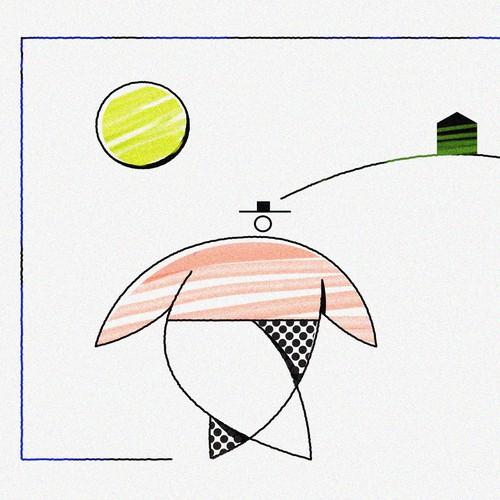 Modern minimal landscape illustration