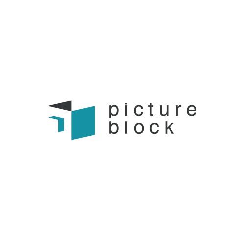 Negative space logo design for Picture Block