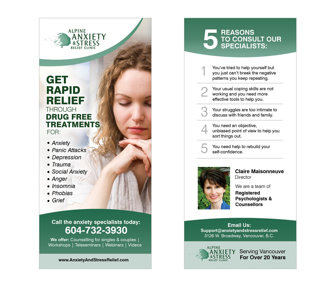 Create the next postcard or flyer for Alpine Anxiety & Stress Relief Clinic