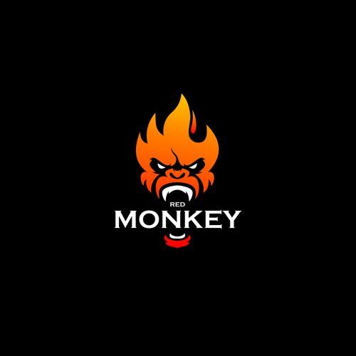 red monkey logo concept