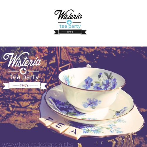 Create a nostalgic 1940's style logo for a vintage tea party experience.