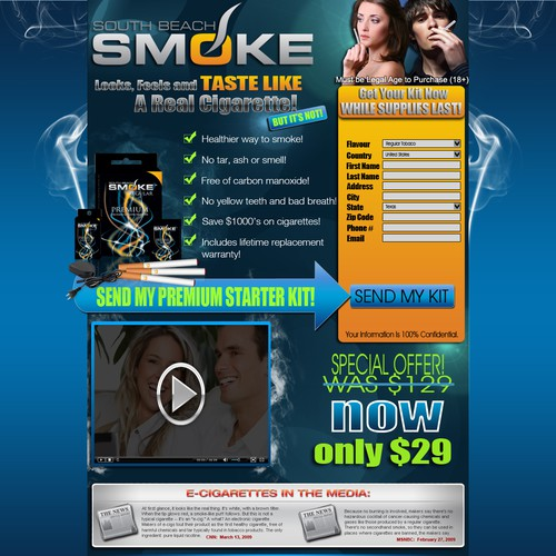 High Impact Landing Page for E-Cigarette Exclusive Trial Offer