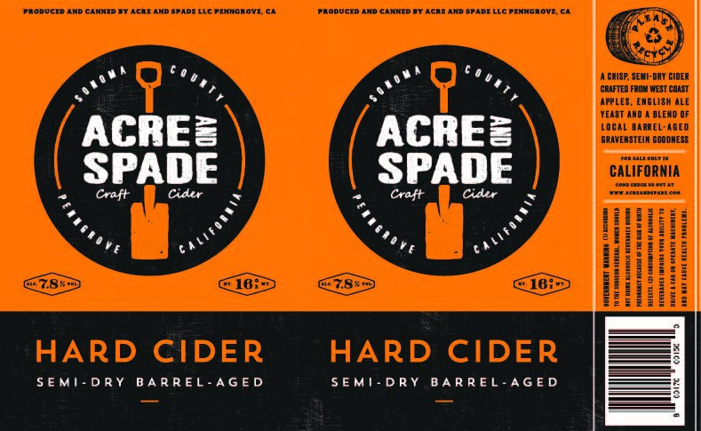 Acre and Spade 16oz Can Label - Craft Cider