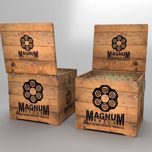 Vintage wooden crate box for Magnum Reels