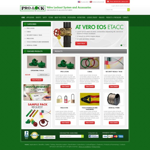 Homepage Design for E-Commerce Business - Lock-out Systems Provider