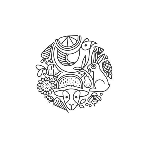 Flora and Fauna illustrations for Good Food Emporium