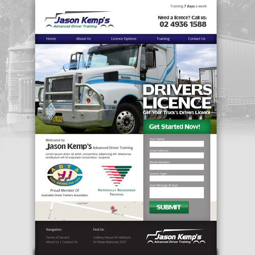 Website Design for Jason Kemp's Advanced Driver Training