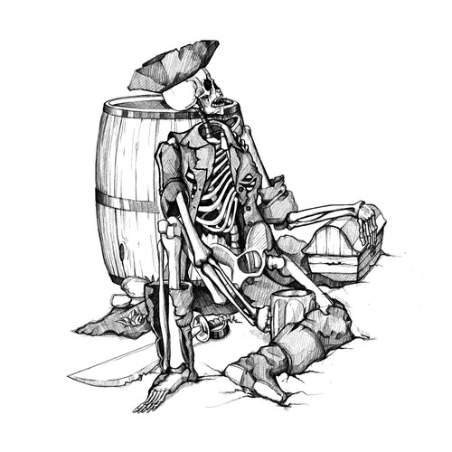 Skeleton Pirate and Barrel of Rum