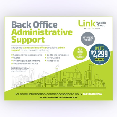 Design a Promotional flyer for our service offering to advisers