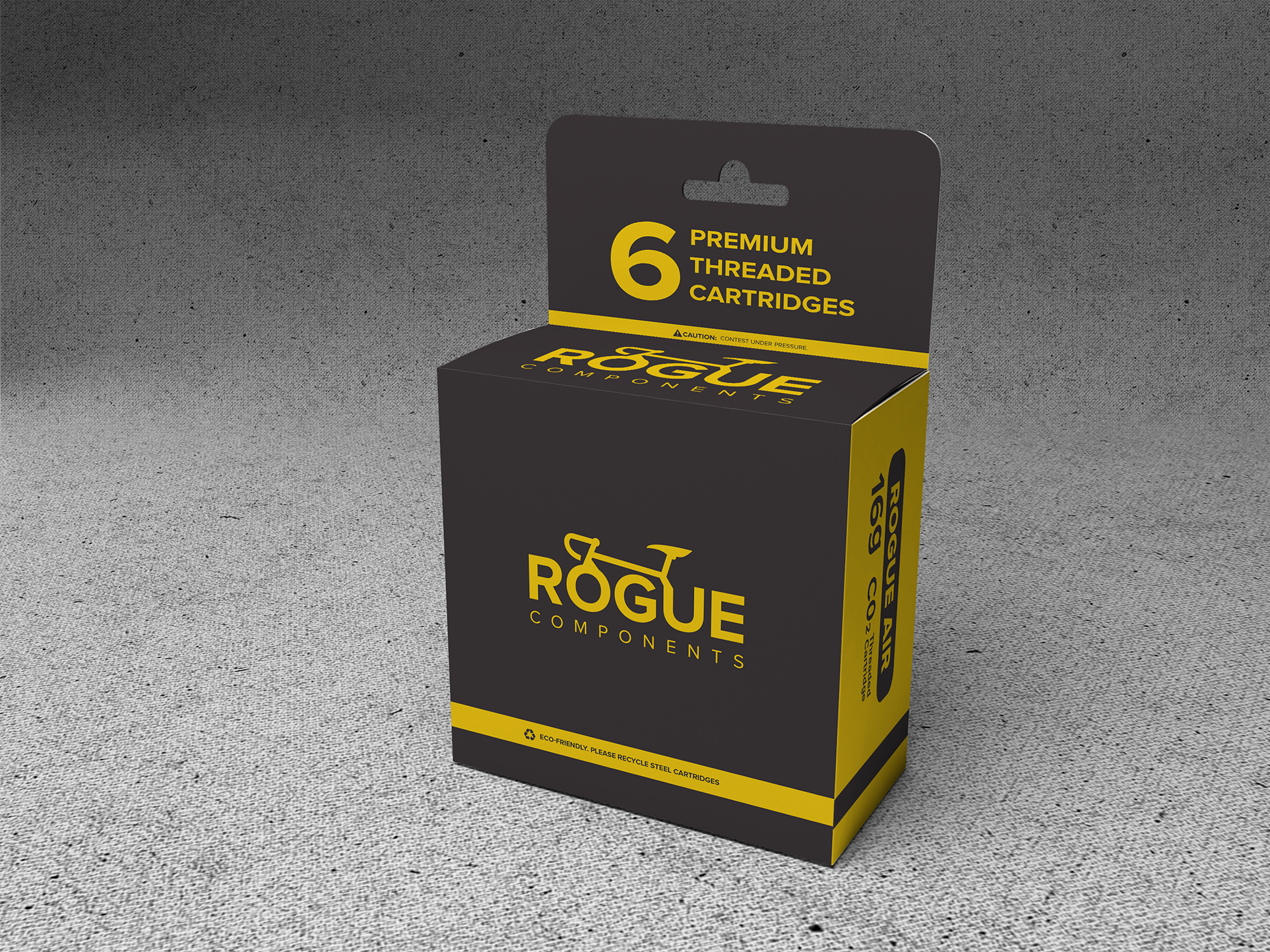 Create a capturing c02 cartridge label and packaging for Rogue Components