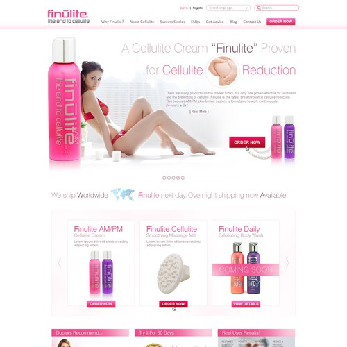 New Homepage design for a cellulite cream website