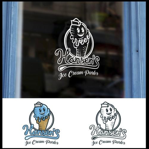 Logo de helado retro