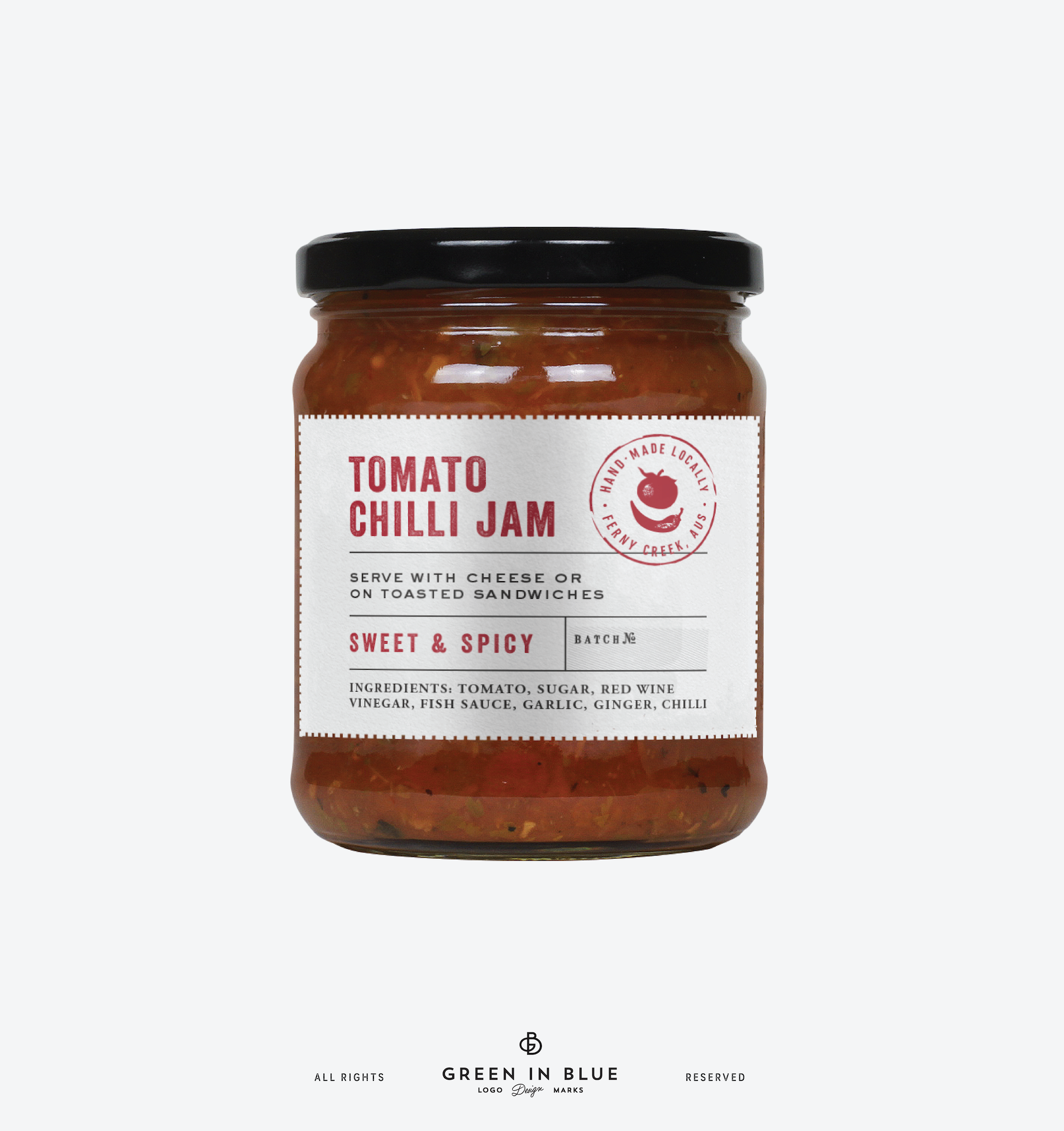 Design a label for a spicy homemade jam