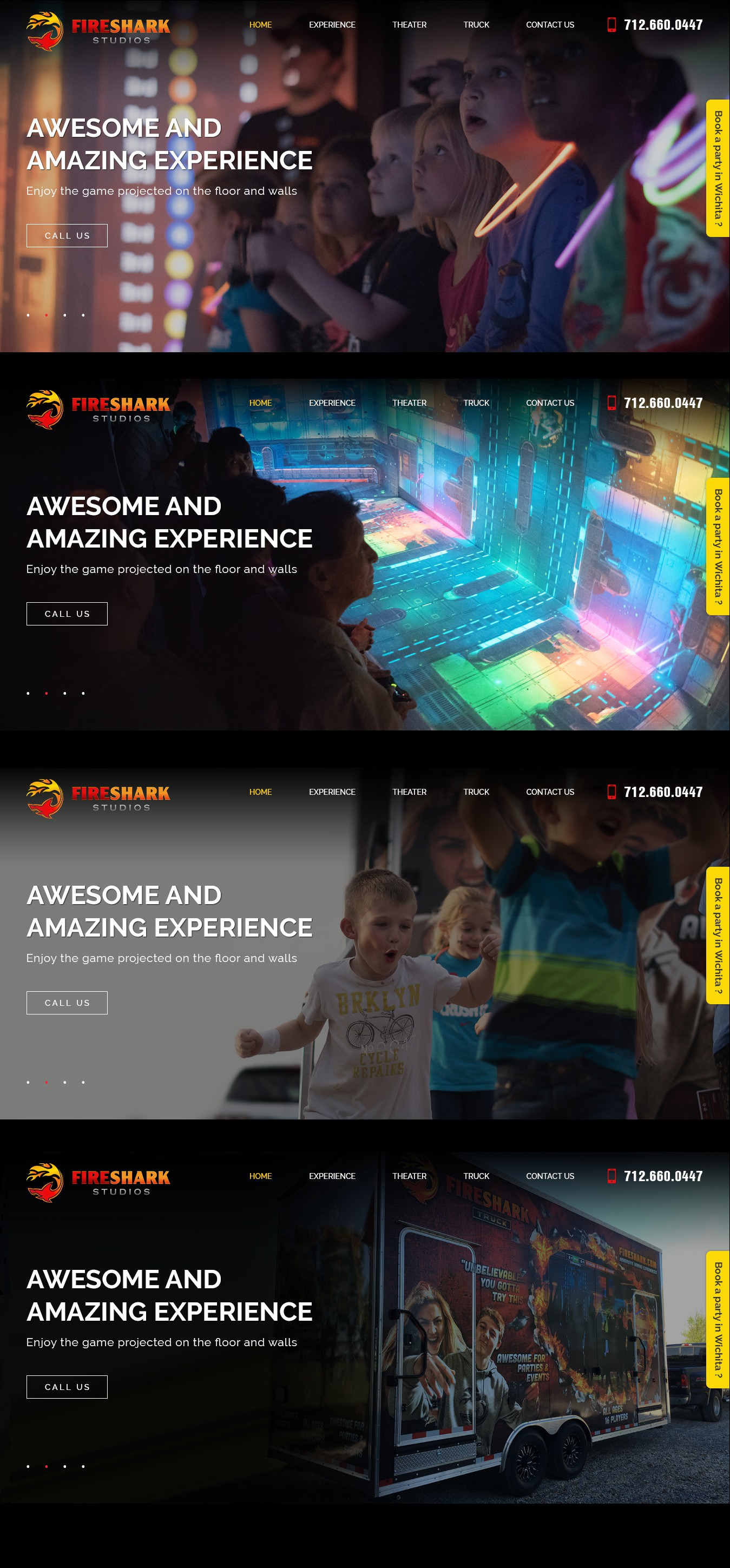 Create an exciting website for Fireshark Studios, an immersive video game company