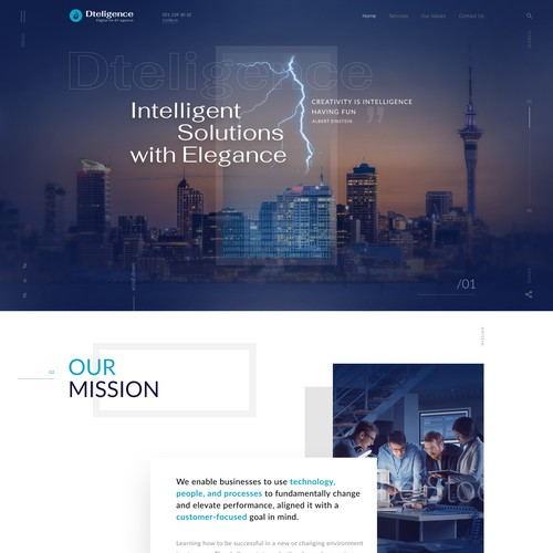 Web concept for Dteligence company